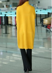 wholesale Turtleneck Long Sleeve Front Slit Yellow Sweater