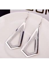 wholesale Woman Frosted Silver Metal Geometry Shape Earrings