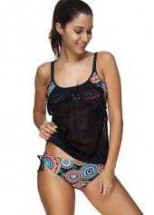 Spaghetti Strap Mesh Panel Top and Printed Panty