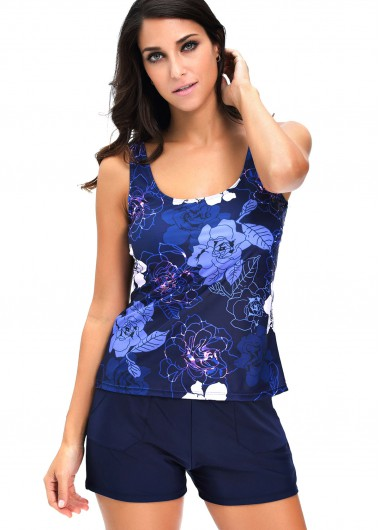 Flower Print Strappy Top and Navy Blue Shorts