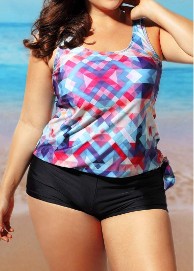 Round Neck Printed Top and Shorts Swimwear