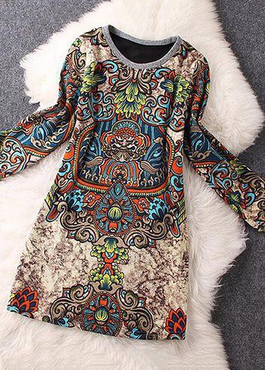 Round-Neck-Long-Sleeve-Printed-Straight-Dress