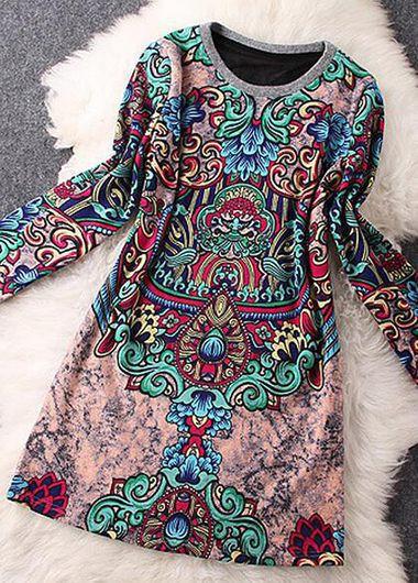 Printed-Round-Neck-Long-Sleeve-Mini-Dress