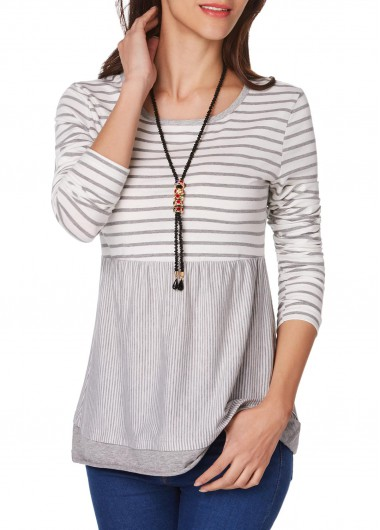 Stripe Print Round Neck Long Sleeve T Shirt