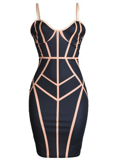 Open Back Zipper Closure Black Sheath Club Dress