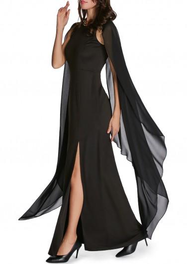 Cape-Sleeve-Front-Slit-Solid-Black-Maxi-Dress