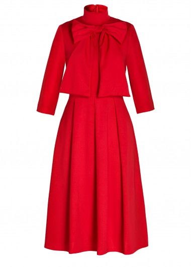 Bowknot Embellished Three Quarter Sleeve Red Dress