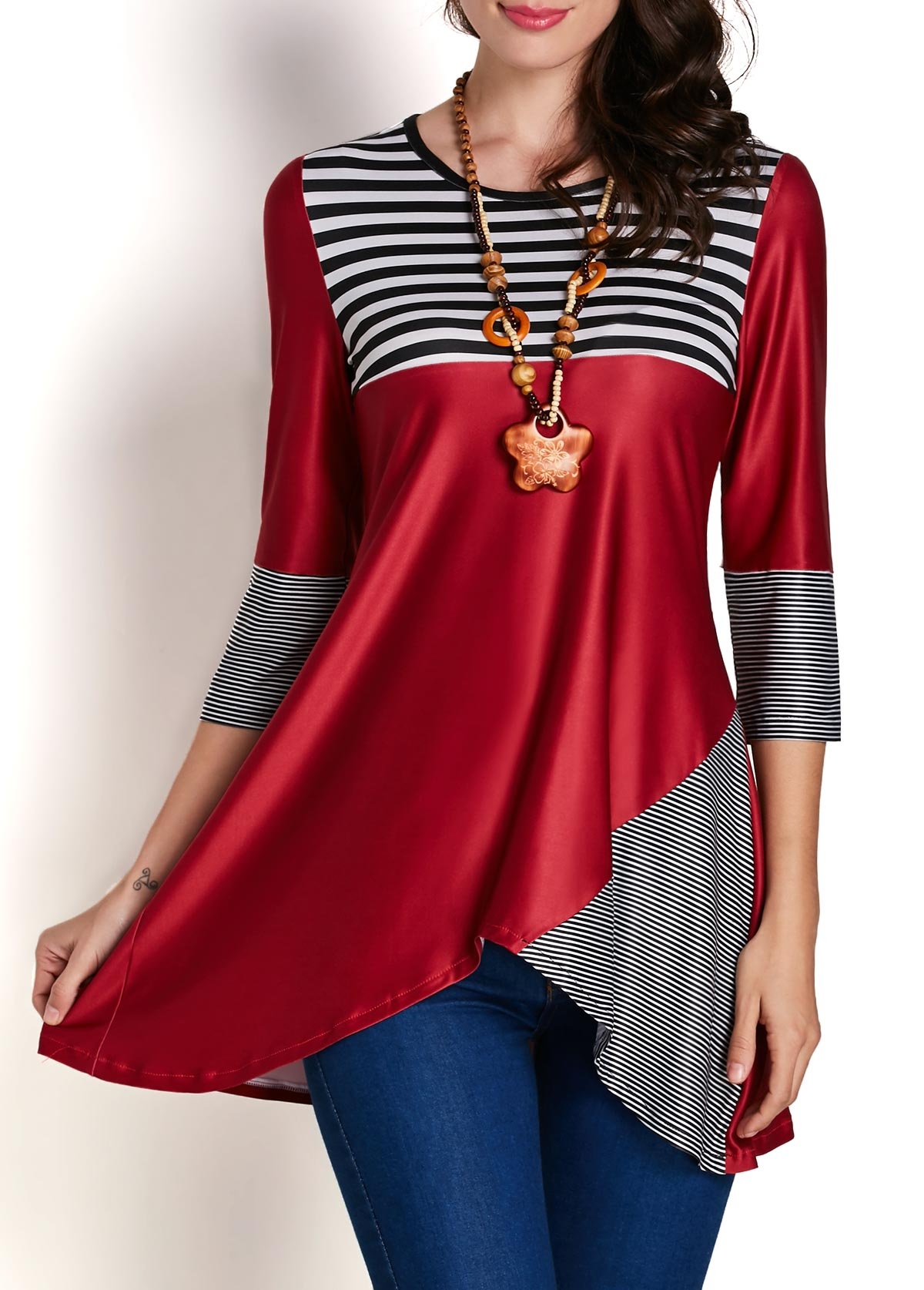 Asymmetric Hem Round Neck Striped Patchwork Blouse