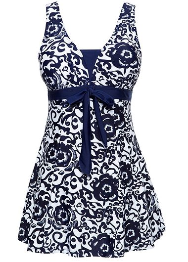 Navy Blue Open Back Bowknot Embellished Printed Swimdress