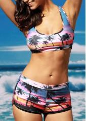 wholesale Print Two Piece Scoop Neck Swimwear