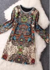 Round Neck Long Sleeve Printed Straight Dress
