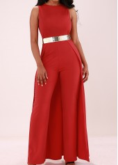 wholesale Overlay Embellished Sleeveless Solid Red Jumpsuit
