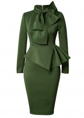 Bowknot Embellished Peplum Waist Army Green Dress