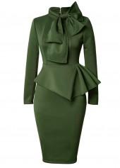 Bowknot Embellished Peplum Waist Army Green Dress