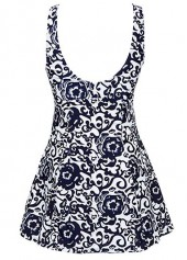 wholesale Navy Blue Open Back Bowknot Embellished Printed Swimdress