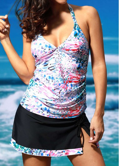 V Neck Printed Top and Black Skirt Tankini