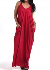 Spaghetti Strap Wine Red Maxi Dress