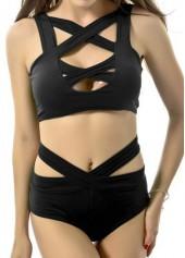 wholesale Black Sleeveless Bikini Top and Cutout Waist Panty