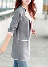 wholesale Pocket Design Long Sleeve Grey Cardigan