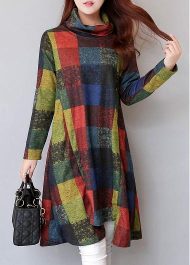 Turtleneck-Long-Sleeve-Plaid-Print-Asymmetric-Dress