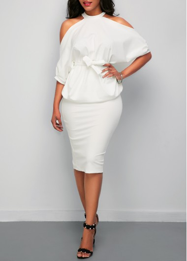 Cold Shoulder Batwing Sleeve Top and White Skirt