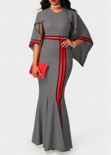 V-Neck-Printed-High-Waist-Mermaid-Dress