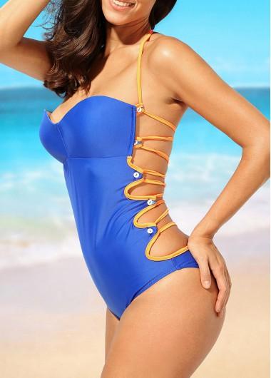 Open Back Royal Blue Halter One Piece Swimwear