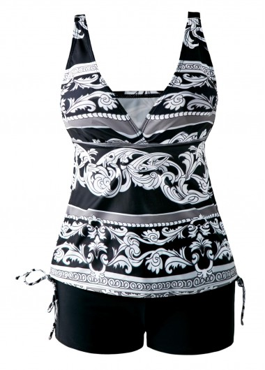 Drawstring-Side-V-Neck-Printed-Black-Tankini