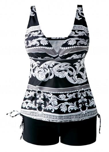 Drawstring Side V Neck Printed Black Tankini