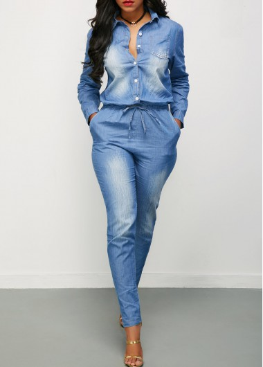 Drawstring Waist Button Up Long Sleeve Denim Jumpsuit
