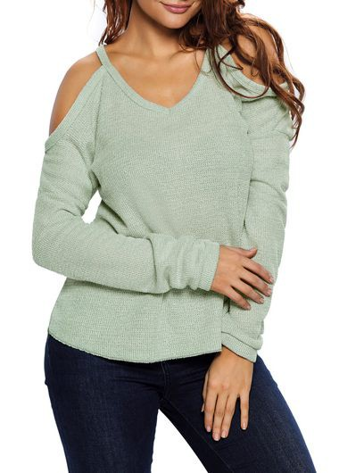 Cold Shoulder V Neck Long Sleeve Sweater