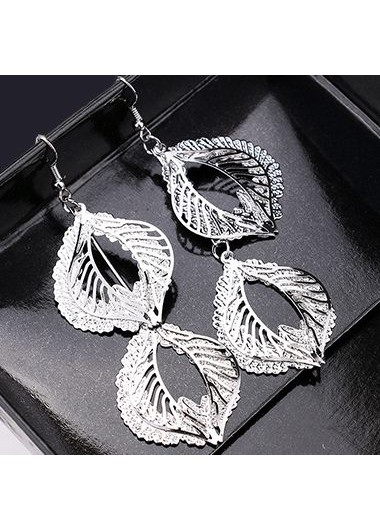 Metal Leaf Shape Decorated Silver Earrings