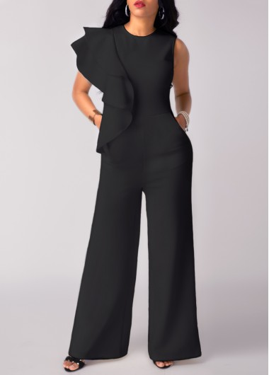 Black High Waist Flouncing Wide Leg Jumpsuit