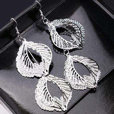 Metal Leaf Shape Decorated Silver Earrings