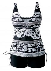 Drawstring-Side-V-Neck-Printed-Black-Tankini