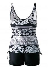 wholesale Drawstring Side V Neck Printed Black Tankini