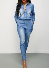 wholesale Drawstring Waist Button Up Long Sleeve Denim Jumpsuit