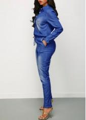 wholesale Button Up Drawstring Waist Denim Jumpsuit