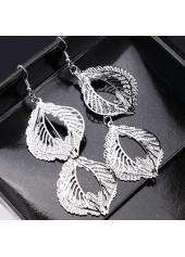Metal-Leaf-Shape-Decorated-Silver-Earrings