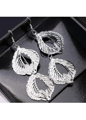 wholesale Metal Leaf Shape Decorated Silver Earrings