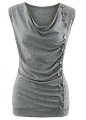 Ruched Cowl Neck Button Embellished Grey Tank Top