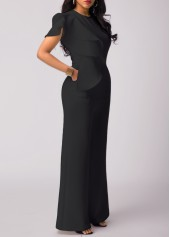 wholesale Black High Waist Flouncing Wide Leg Jumpsuit