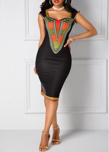 Dashiki-Print-Open-Back-Black-Sheath-Dress