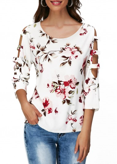 Flower Print Cutout Sleeve Round Neck T Shirt