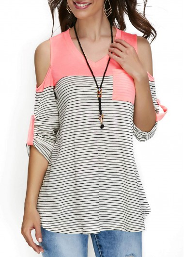 Buy online Cold Shoulder V Neck Stripe Print T Shirt