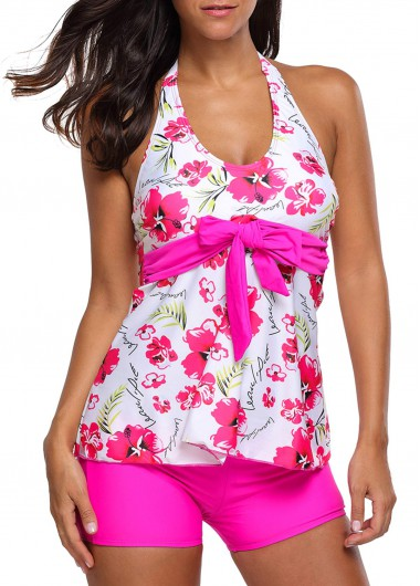 Halter-Neck-Flower-Print-Top-and-Rose-Shorts