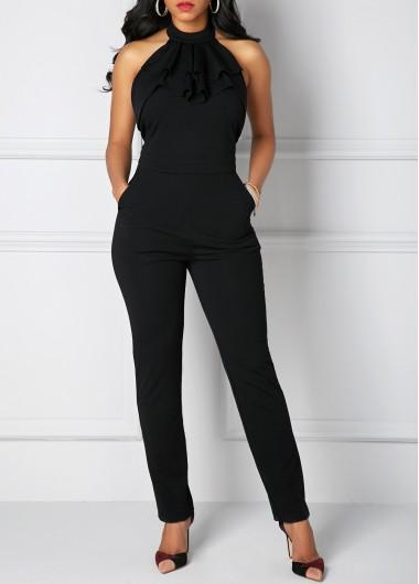 Solid Black Halter Neck Pocket Jumpsuit