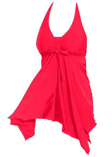 Halter Neck Asymmetric Hem Solid Red Swimdress