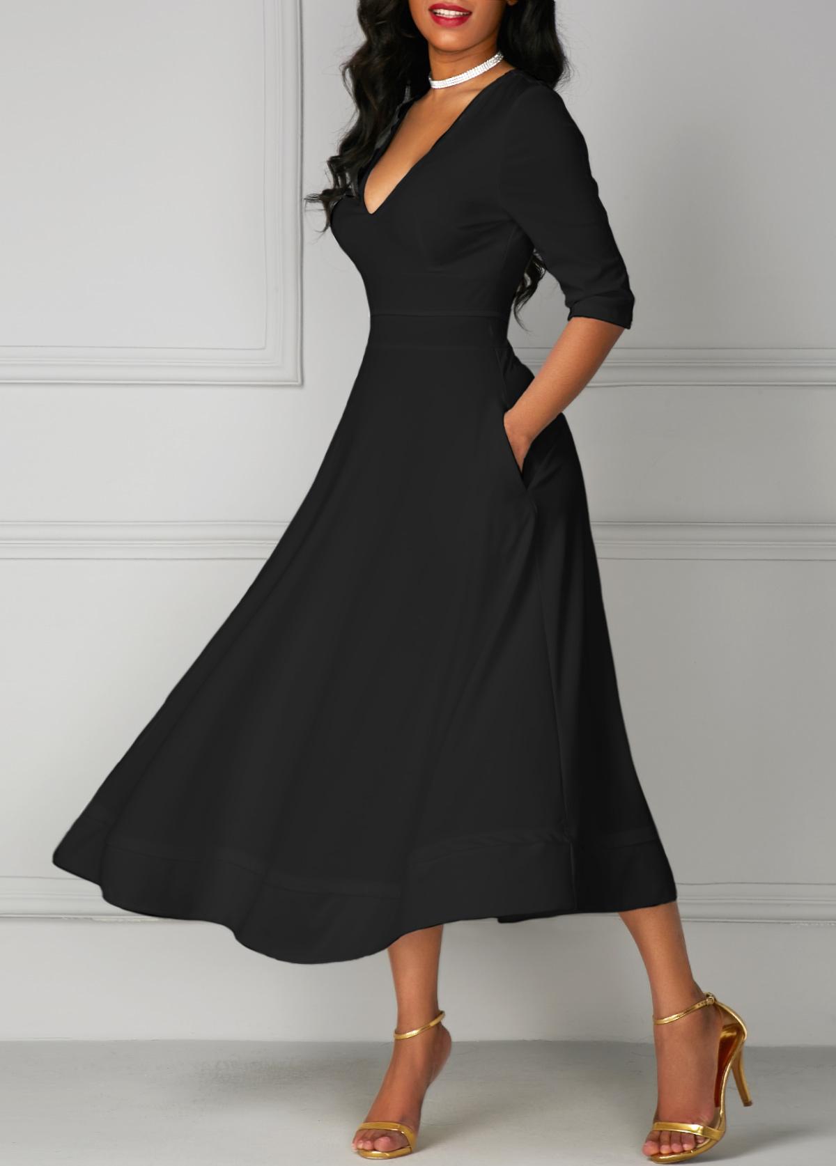Black V Neck Pocket Design Half Sleeve Dress