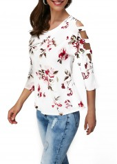 wholesale Flower Print Cutout Sleeve Round Neck T Shirt